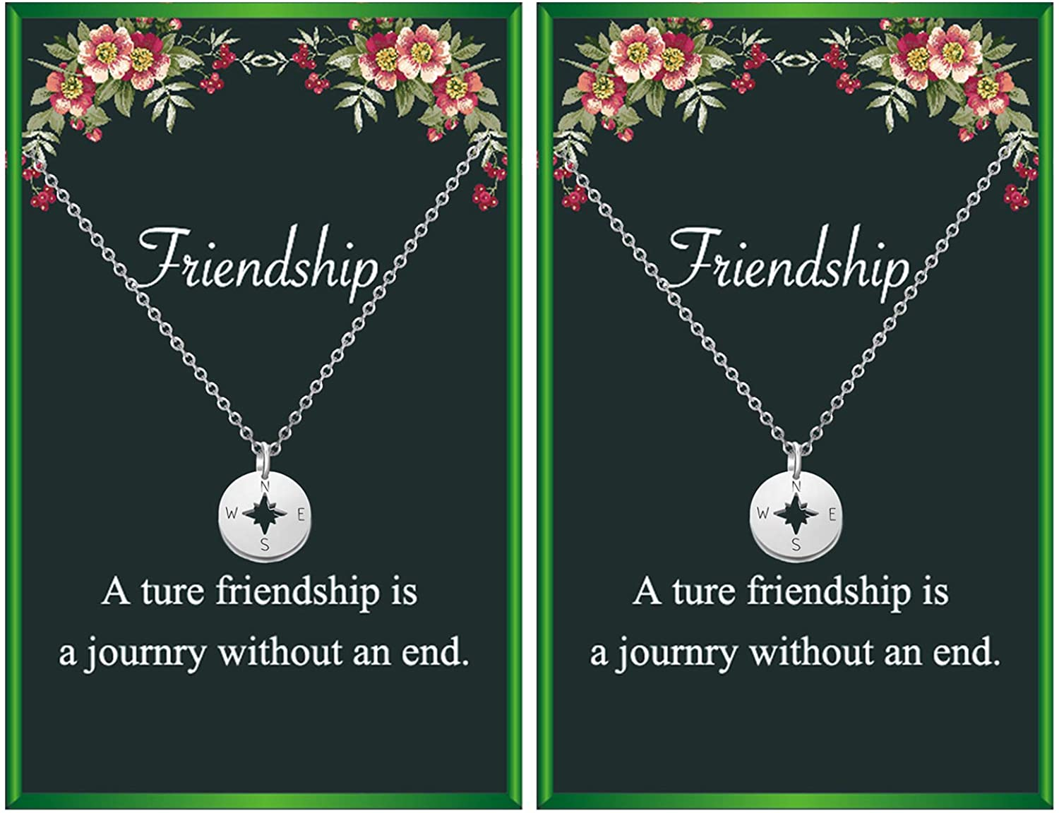Your Always Charm Friendship Necklace for 2 Compass Butterfly Star Necklace Gift for Women Girls Friend