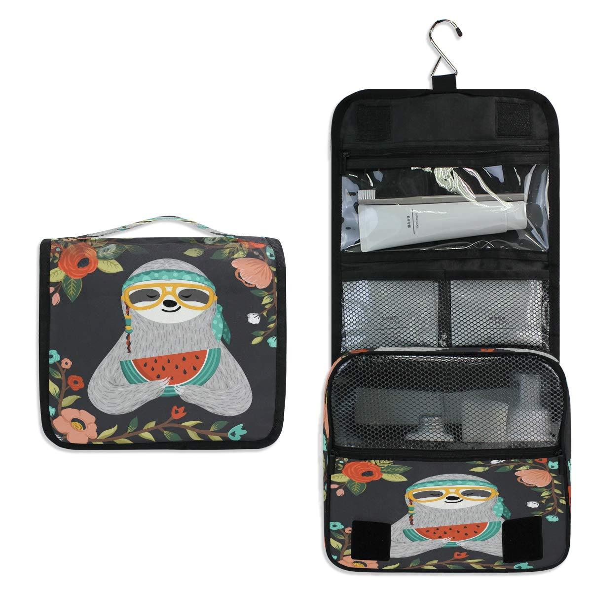YVONAU Hanging Toiletry Bag Animal Sloth Floral Watermelon Portable Travel Cosmetic Makeup Bag Bathroom Shower Shaving Kit Organizer Bag for Men Women
