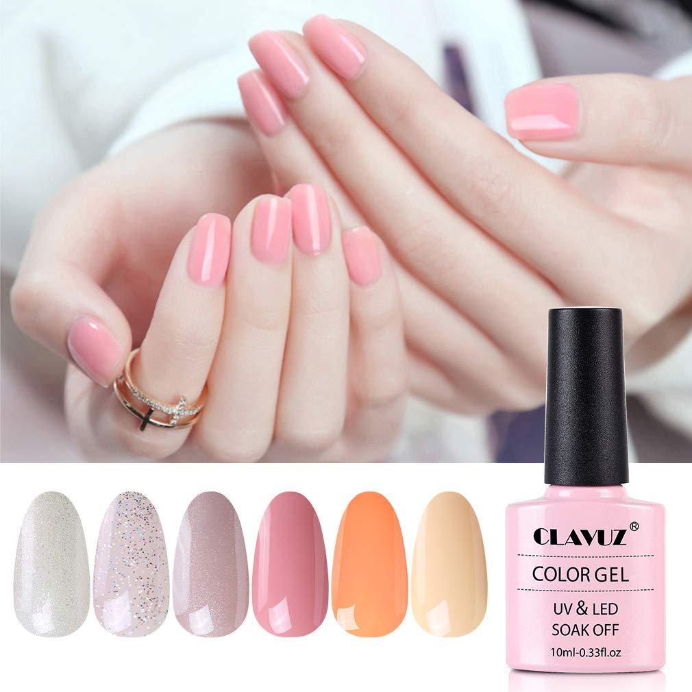 CLAVUZ Gel Nail Polish Set Soak Off UV Led Nail Varnish 6pcs New Start Kit Nail Lacquers Nail Art Manicure Pedicure (Cherry blossoms)