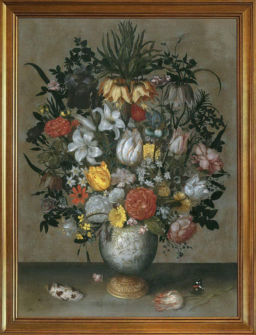 Berkin Arts Ambrosius Bosschaert Classic Framed Giclee Print On Canvas-Famous Paintings Fine Art Poster-Reproduction Wall Decor(I Chinese Vase with Flowers Shells and Insects) #JK