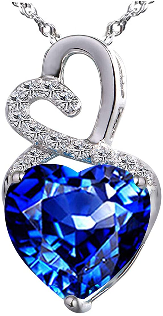 """Lab-Created Gemstone Birthstone Heart and Diamond Accent Necklace Pendant Charm in 10k White Gold or 10k Yellow Gold plated or 925 Sterling Sliver with 18"""" Chain (Choose your Birthstone)"""