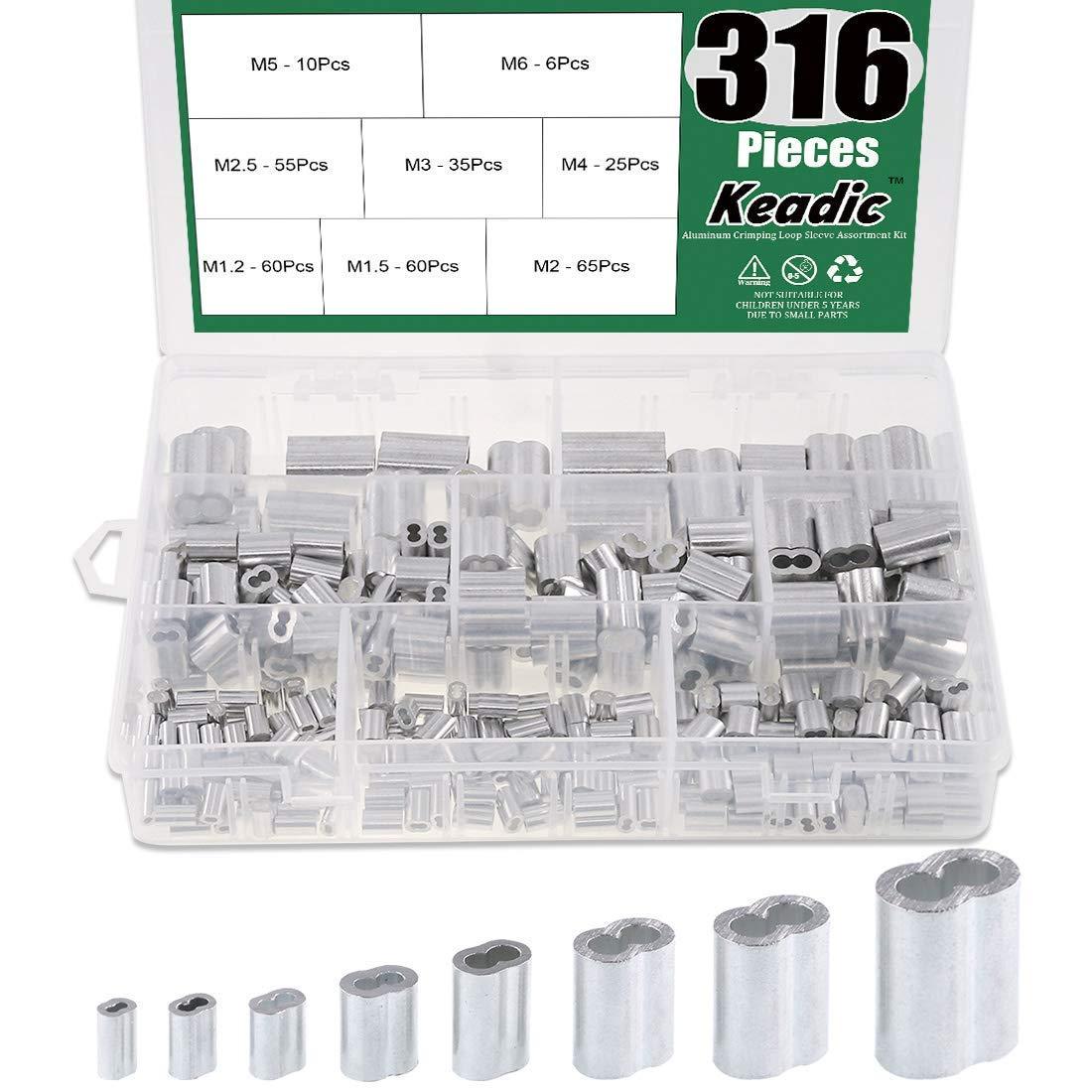 Keadic 316Pcs 8 Sizes Aluminum Crimping Loop Sleeve Metric Assortment Kit for Wire Rope Cable Rigging