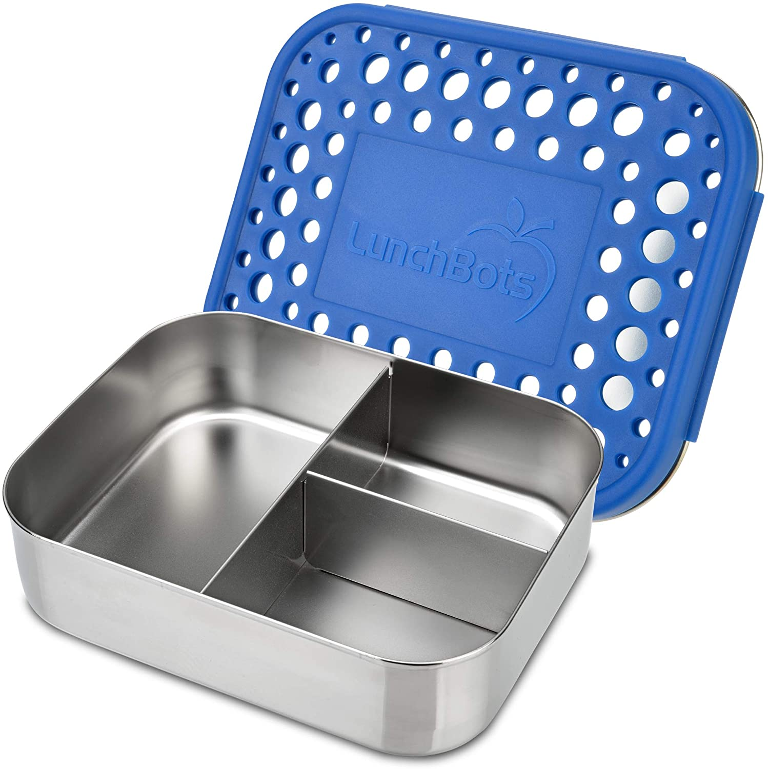 LunchBots Medium Trio II Snack Container - Divided Stainless Steel Food Container - Three Sections for Snacks On The Go - Eco-Friendly, Dishwasher Safe, BPA-Free - Stainless Lid - Blue Dots
