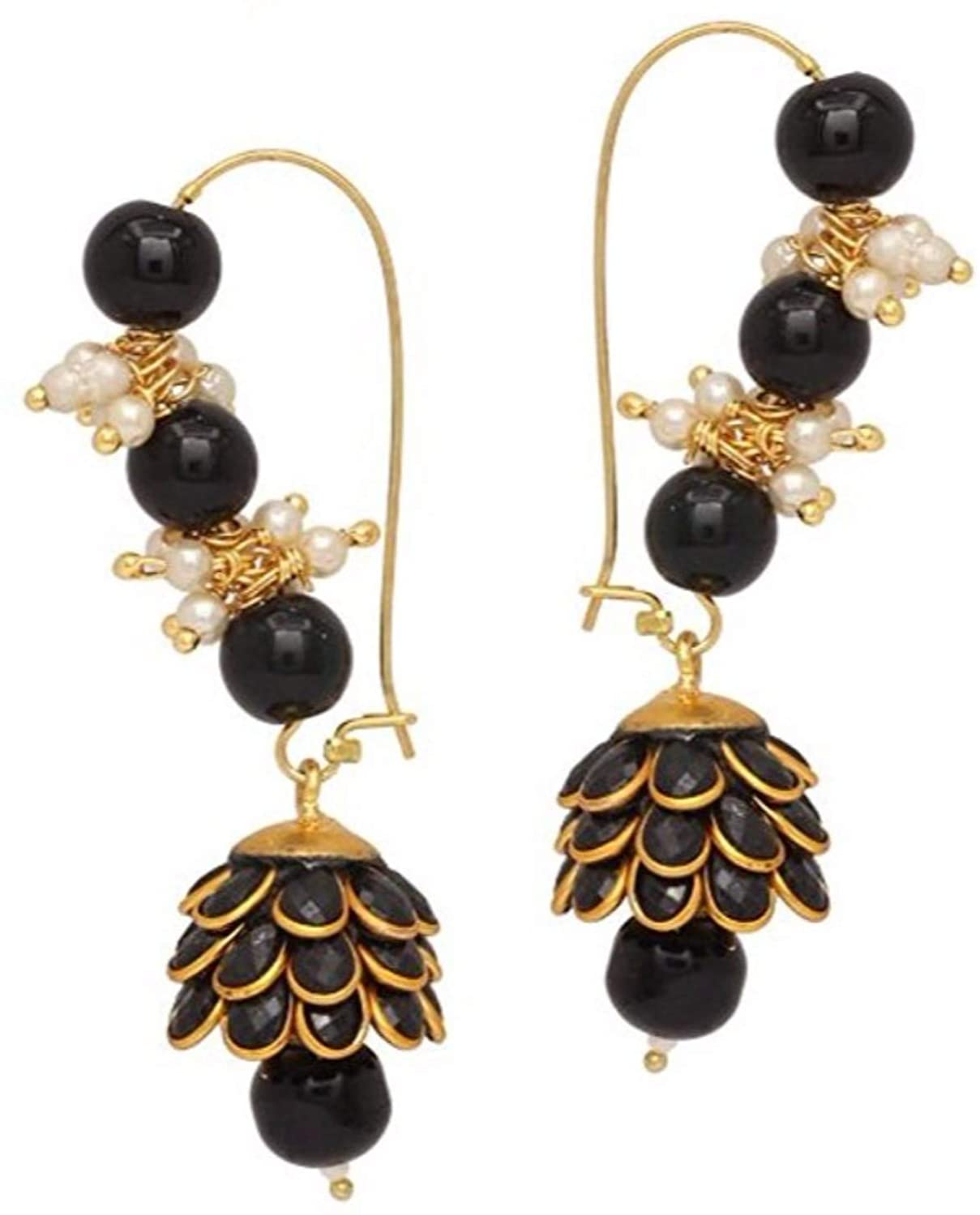 Ethnadore Indian Bollywood Gold Plated Faux Pearl Jhumki Jhumka Dangle Hoop Earrings Jewelry set