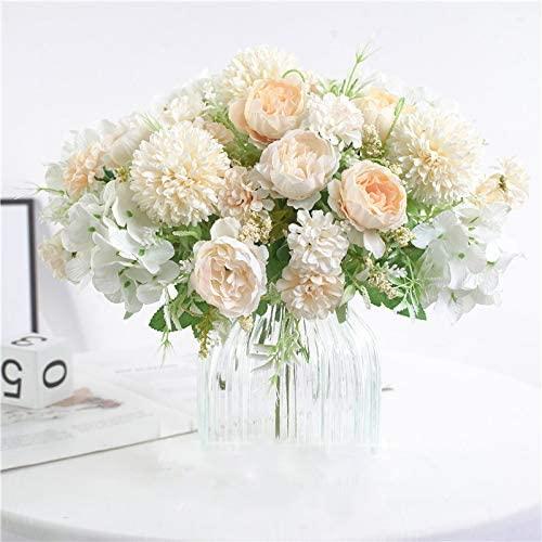 NAWEIDA Artificial Flowers,Silk Hydrangea Bouquet Fake Peony Décor Plastic Carnations Realistic Flower Arrangements Wedding Decoration Table Centerpieces 2 Packs (White)