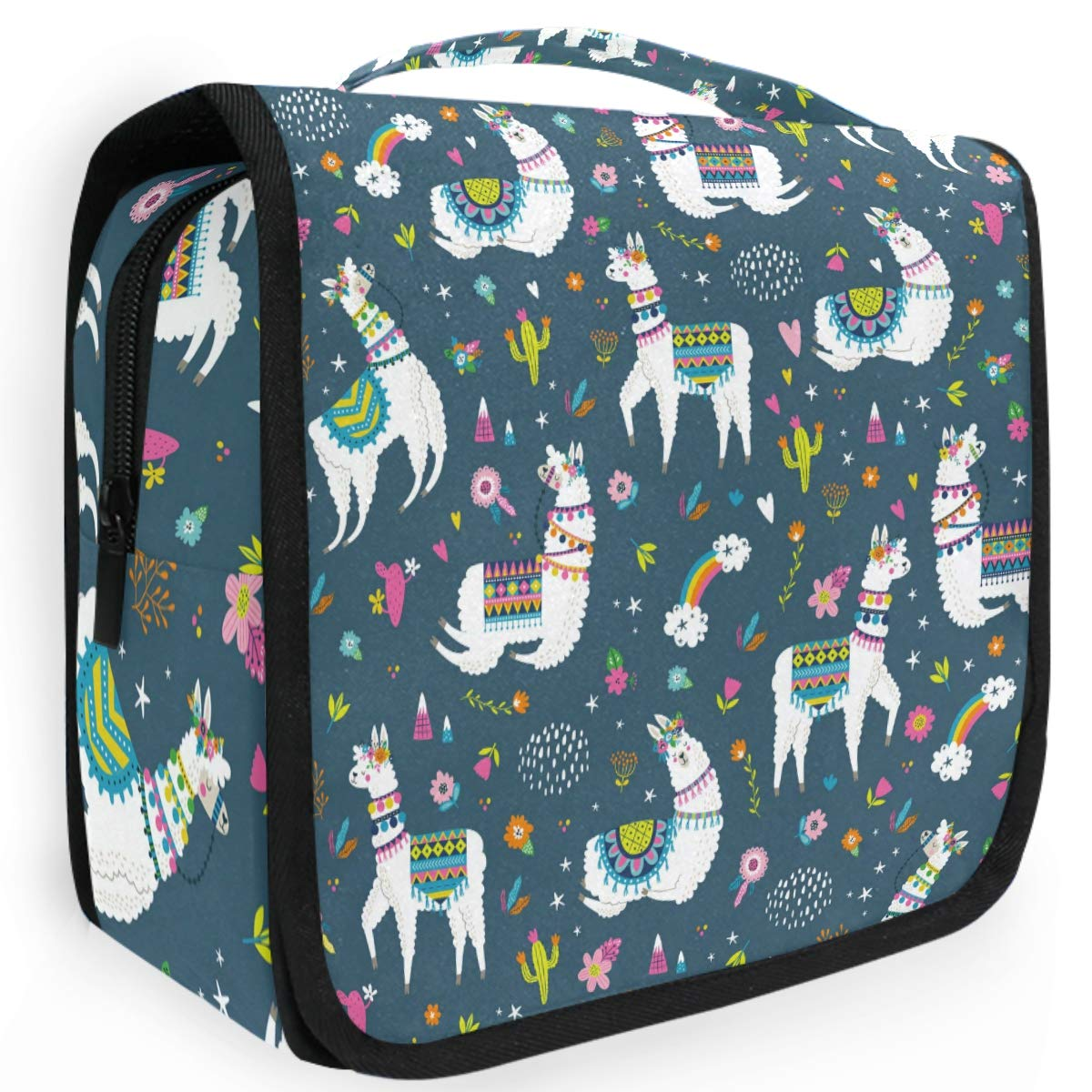 Olinyou Vintage Llama Cactus Flower Tropical Animal Alpaca Star Travel Toiletry Cosmetic Bag Hanging Shower Makeup Bag Pouch Portable Train Tote Case Organizer Storage For Women Girls