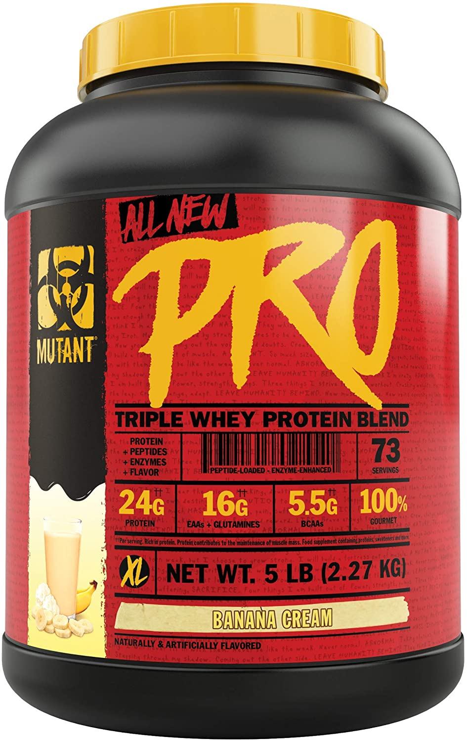 Mutant Pro – Triple Whey Protein Powder Supplement – Time-Released for Enhanced Amino Acid Absorption – Decadent Gourmet Flavors – 5 lbs – Banana Cream