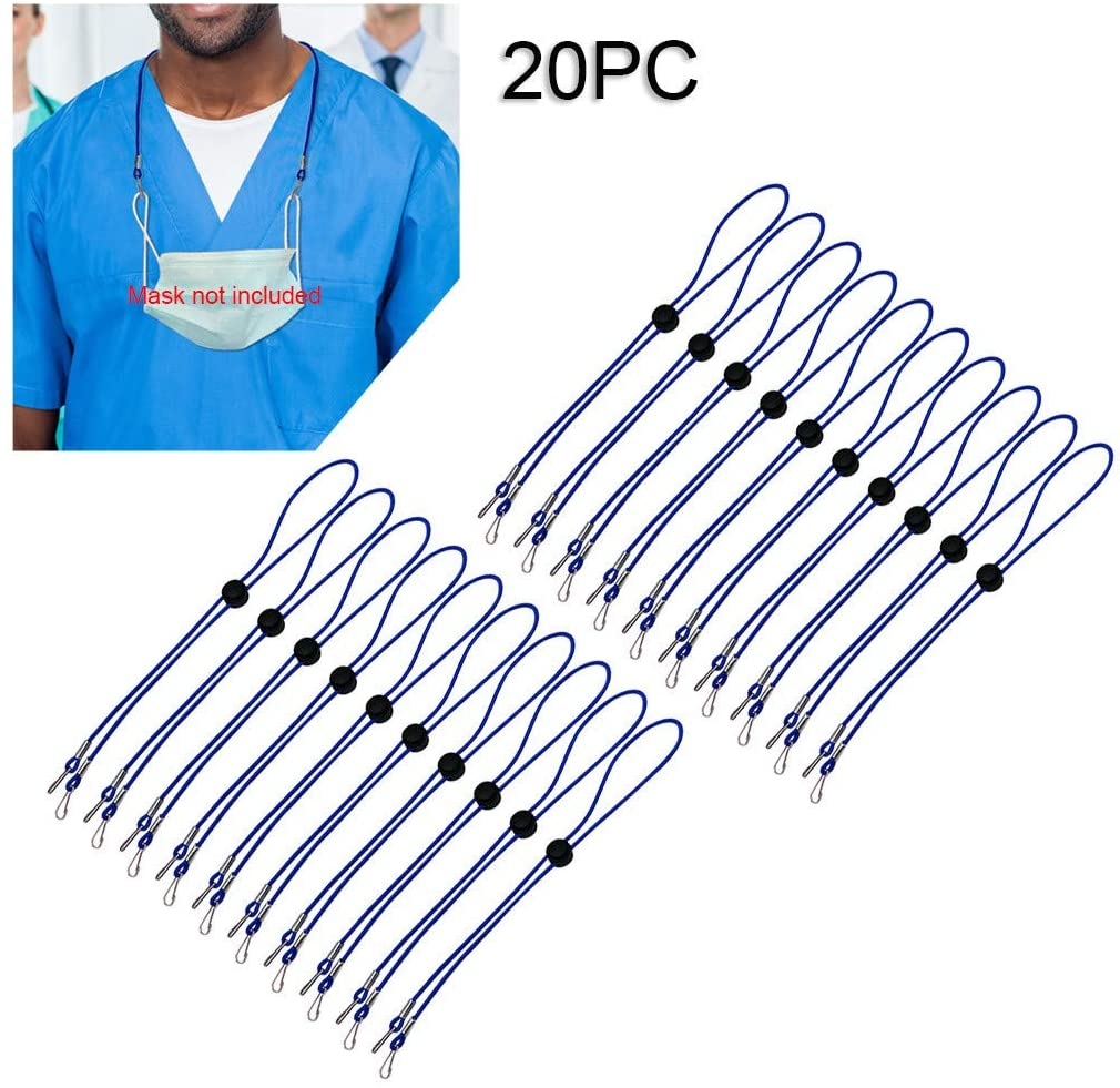 Adjustable Length Necklace Lanyard - Handy & Convenient Safety Face Holder & Hanger - Comfortable Around The Neck Rest & Ear Saver(Blue03,20PC)