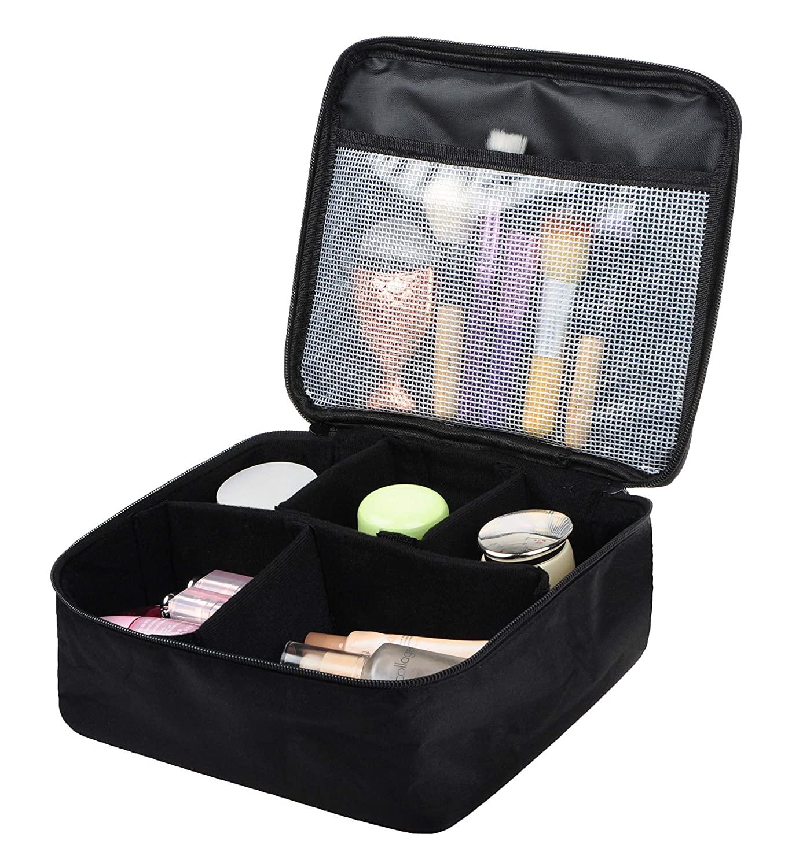 Vercord Travel Makeup Cosmetic Train Case Portable Brushes Case Toiletry Bag Travel Kit Organizer Cosmetic Bag D Black
