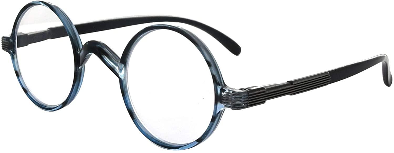 Eyekepper Round Reading Glasses a Little Large Than Vintage Professor Oval Readers (Blue Stripe,+3.50)
