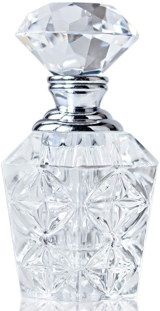 H&D Clear Art Carved Crystal Empty Mini Refillable Perfume Bottle