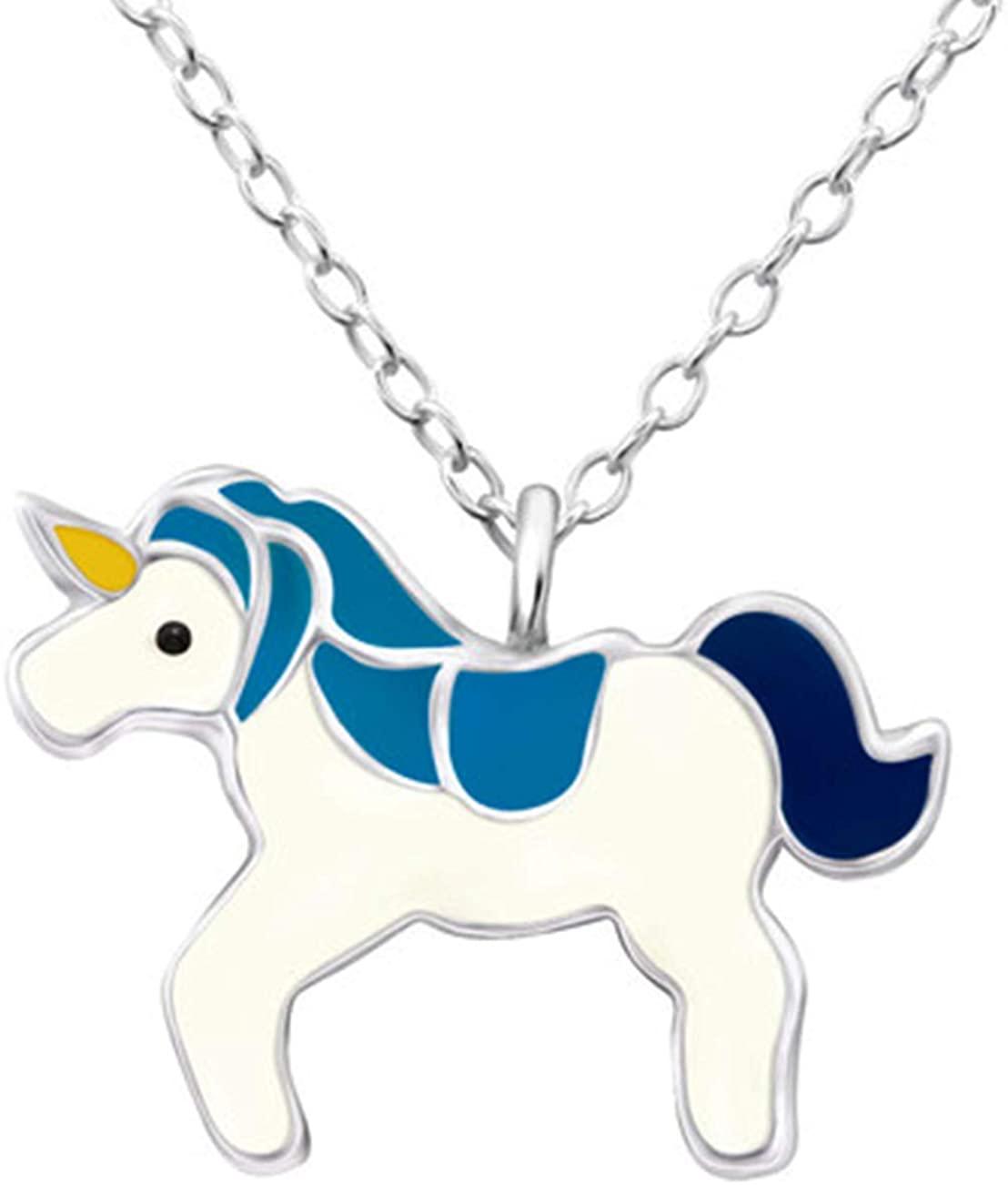 Hypoallergenic Sterling Silver Blue Unicorn Pendant Necklace (Nickel Free)