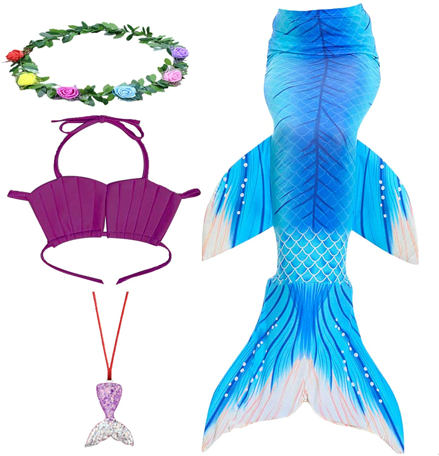KESEPLEI Girls Mermaid Tails for Swimming with Bikini Swimsuits Cosplay Costume for Girls 4-13Y