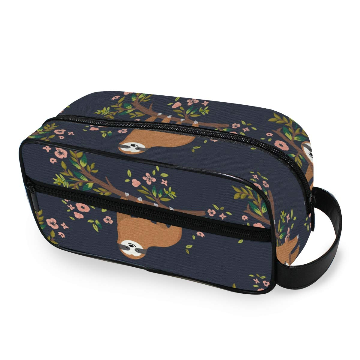 JOYPRINT Portable Travel Makeup Bag, Floral Flower Tree Animal Sloth Cosmetic Bag Toiletry Bag Pouch with Zipper Multifunction Cosmetic Case for Women Girls