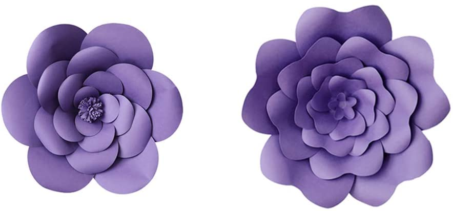 N/C 12inch 16inch Large 3D Paper Flower Party Paper Flower Wall Backdrop Decorations DIY Handcrafted for Wedding Nursery Home Decoration (Style-2, Purple)