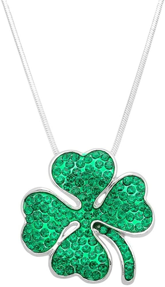 Falari Three or Four Leaf Clover Pave Green Irish Saint St Patricks Day Necklace