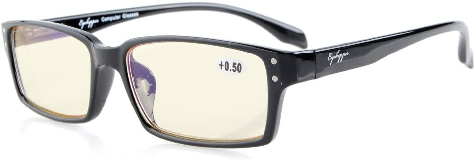 Eyekepper Quality Spring-Hinges Classic Rectangular Frame Computer Reading Glasses Computer Readers (Black, Yellow Tinted Lenses) +2.25