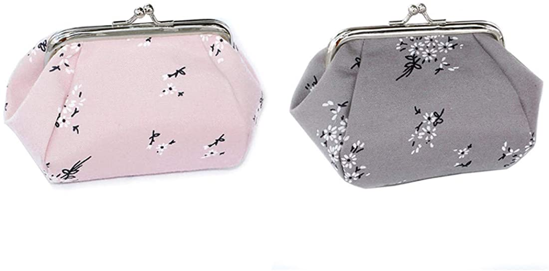 iSuperb 2 Pcs Floral Coin Purse Clasp Change Wallet Small Clutch Handbag for Women and Girls