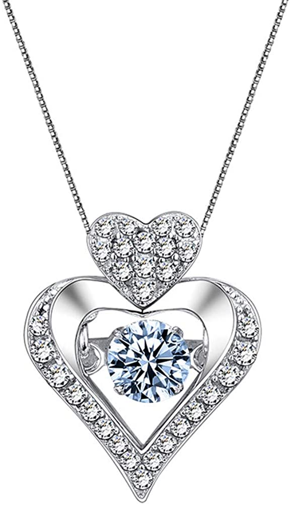 YINSHIFU Mom Necklace 925 Sterling Silver Heart Pendant with Simulated Birthstone Promise Necklace Forever Love Jewelry Gift for Women