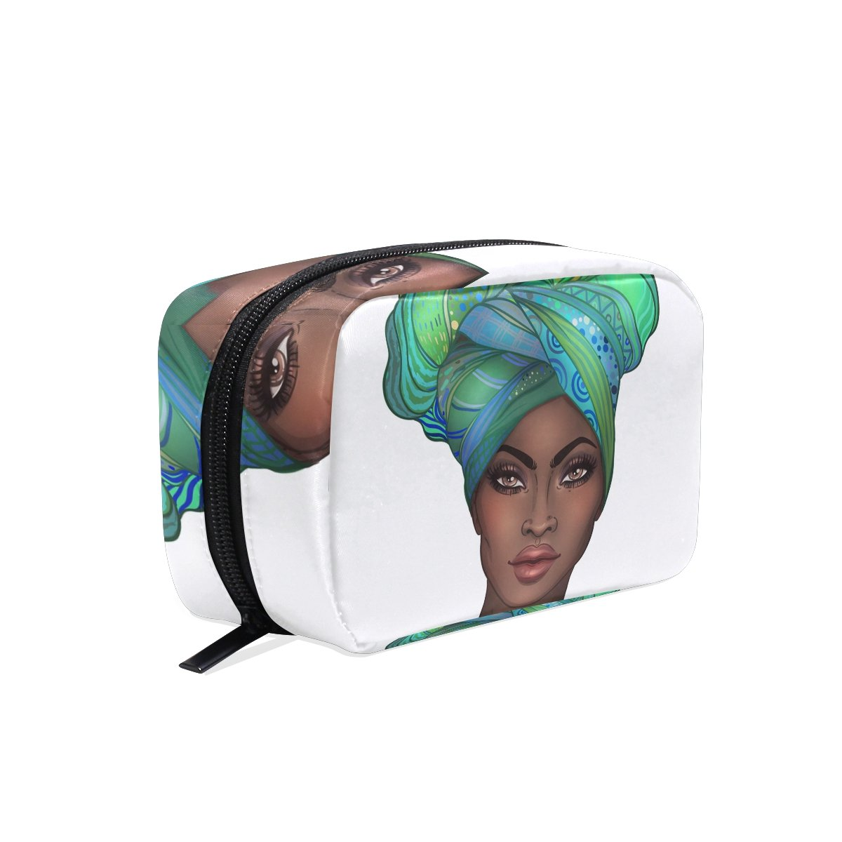 Portable Travel Makeup Bag Cosmetic Bag African American Woman Toiletry Bag Organizer Accessories Case, Tools Case for Women
