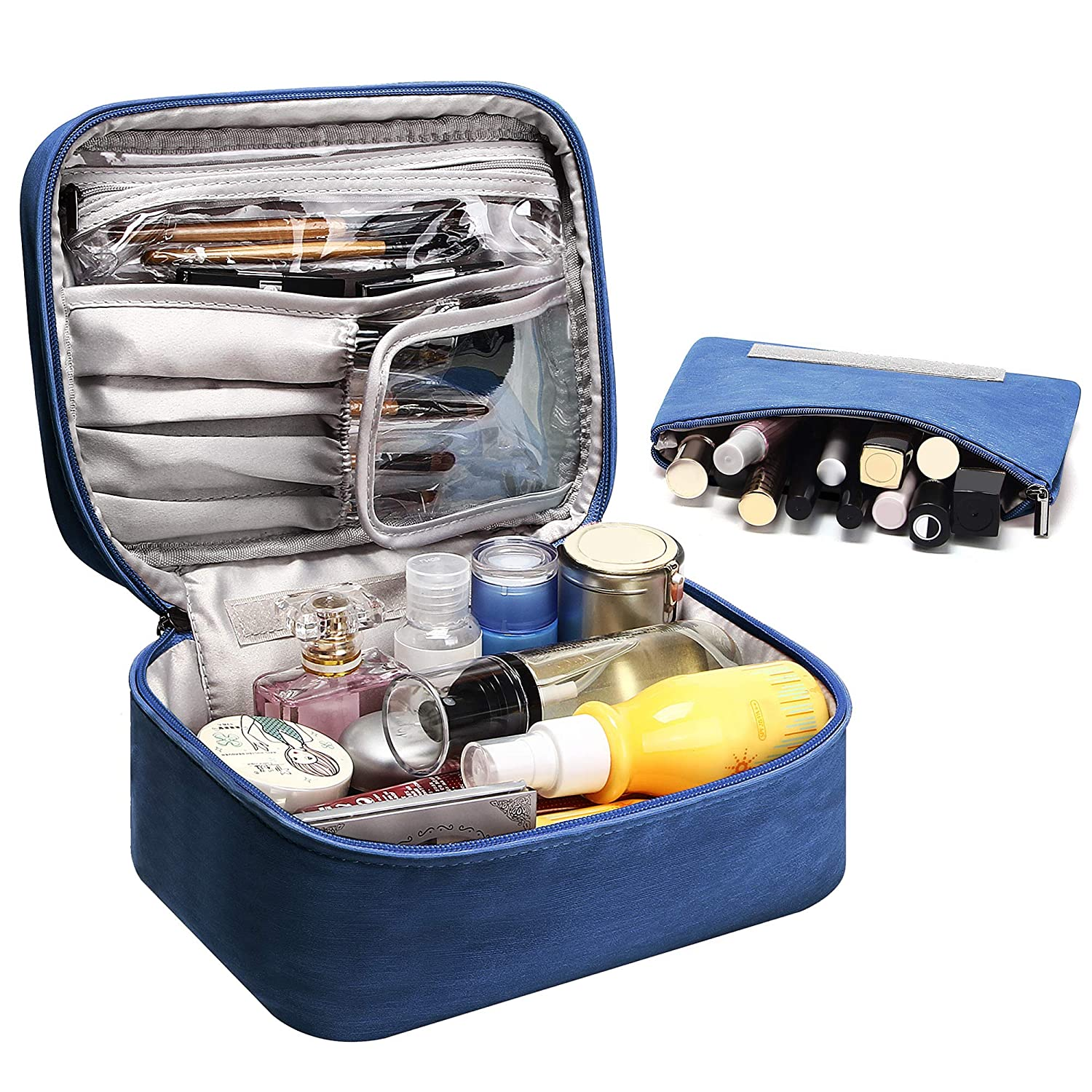 Travel Cosmetic Bag Portable Makeup Bruches Case Waterproof Toiletries Organizer Bag With An Extra Removable Zipper Pouch