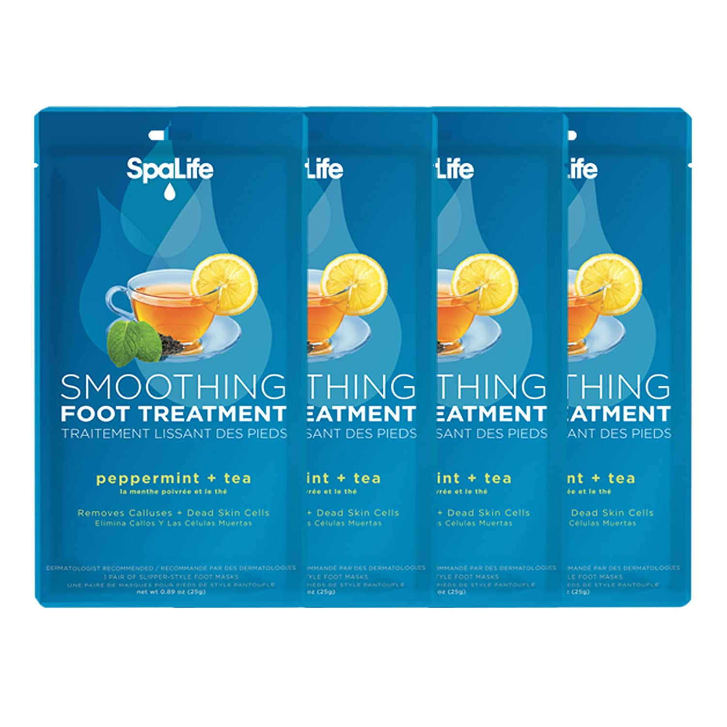 Spa Life Natural Extract Smoothing Foot Treatment Foot Masks (Peppermint + Tea, 4)