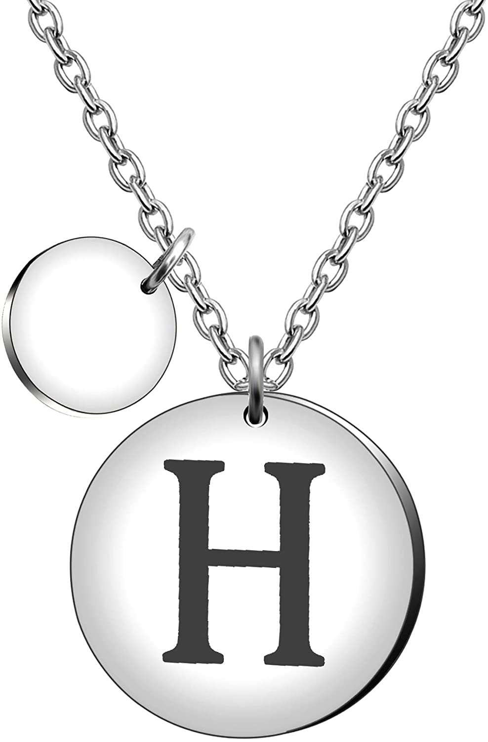 Initial A-Z 26 Letter Name Necklace Encourage Inspiration Pendant Two-Sided Lettering Silver Necklace for Women Men Kids Birthday Gift Jewelry