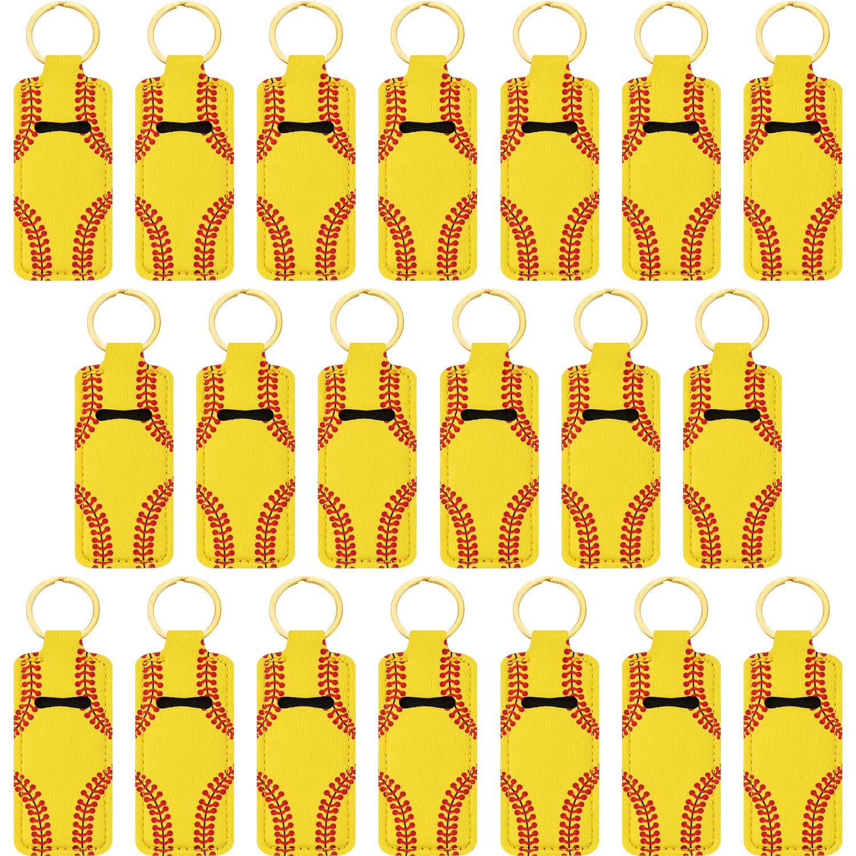 20 Pieces Chapstick Holder Keychains Lipstick Balm Holder Key Chain Clip-on Chapstick Sleeve Pouch Lip Balm Pouch for Chapstick Tracker