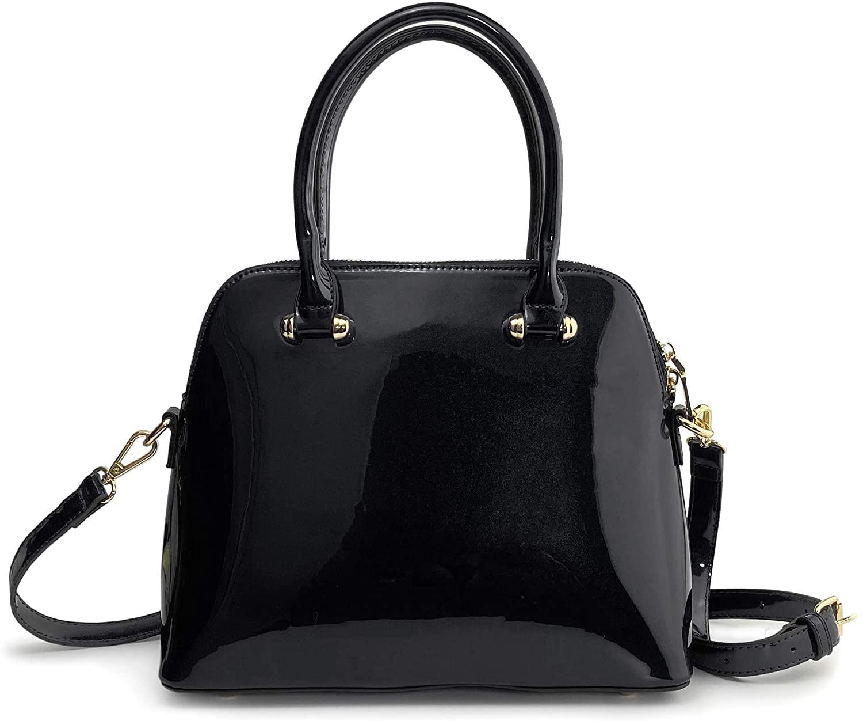 Dome Women Satchel Glossy Patent Vegan Leather Shoulder Handbag Shining Evening Bag Purse