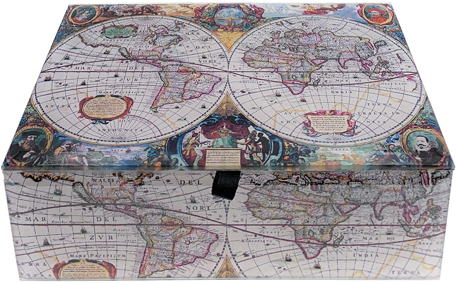 Value Arts Antique World Map Glass Keepsake Box, 5.75 Inches Wide