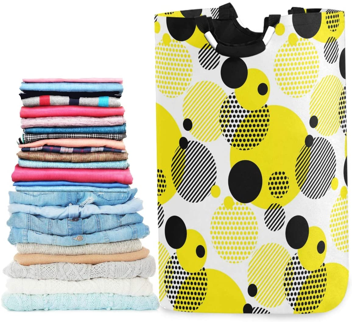 visesunny Collapsible Laundry Basket Black Yellow Round Stripe Large Laundry Hamper Oxford Fabric Dirty Clothes Toy Organizer with Handle for Bathroom Kids Room Dorm