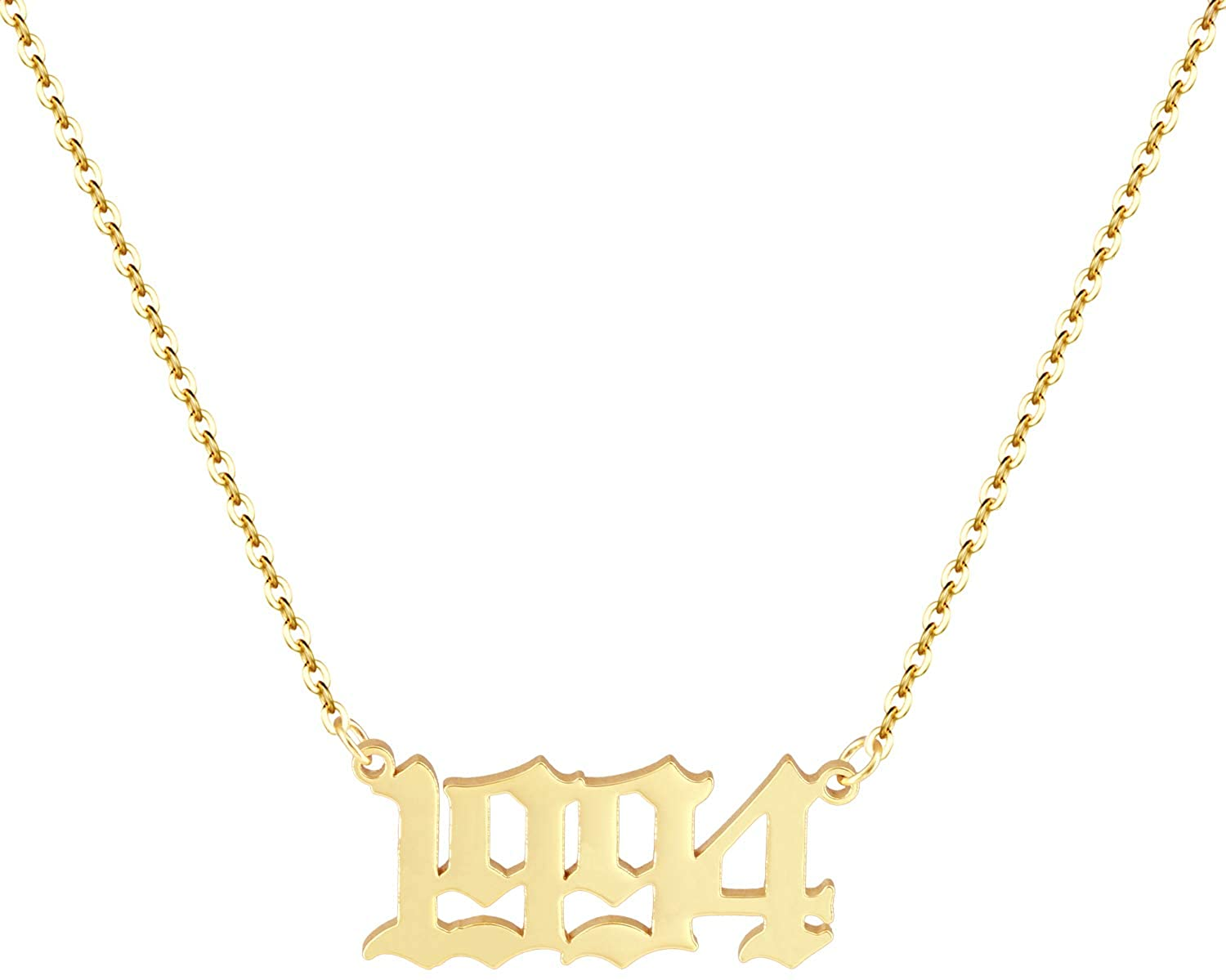 Aimber Birth Year Number Necklace 1980-2020 Initial Year Number Pendant Necklace Birthday Gift for Women and Girl Old English Arabic Number Stainless Steel Friendship Necklace