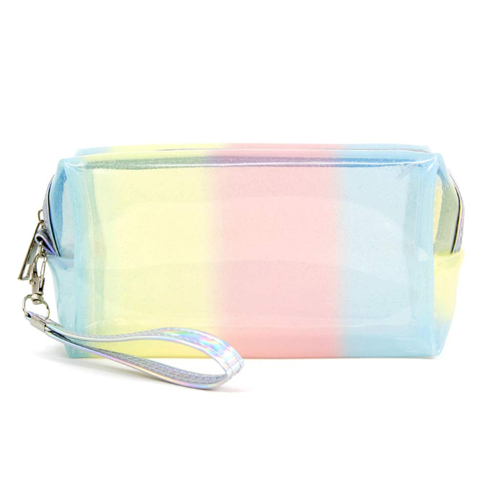by you Portable Makeup case Cosmetic Bag Pouch Travel Organizer Toiletry Bags for Women (Clear - Multi Striped)