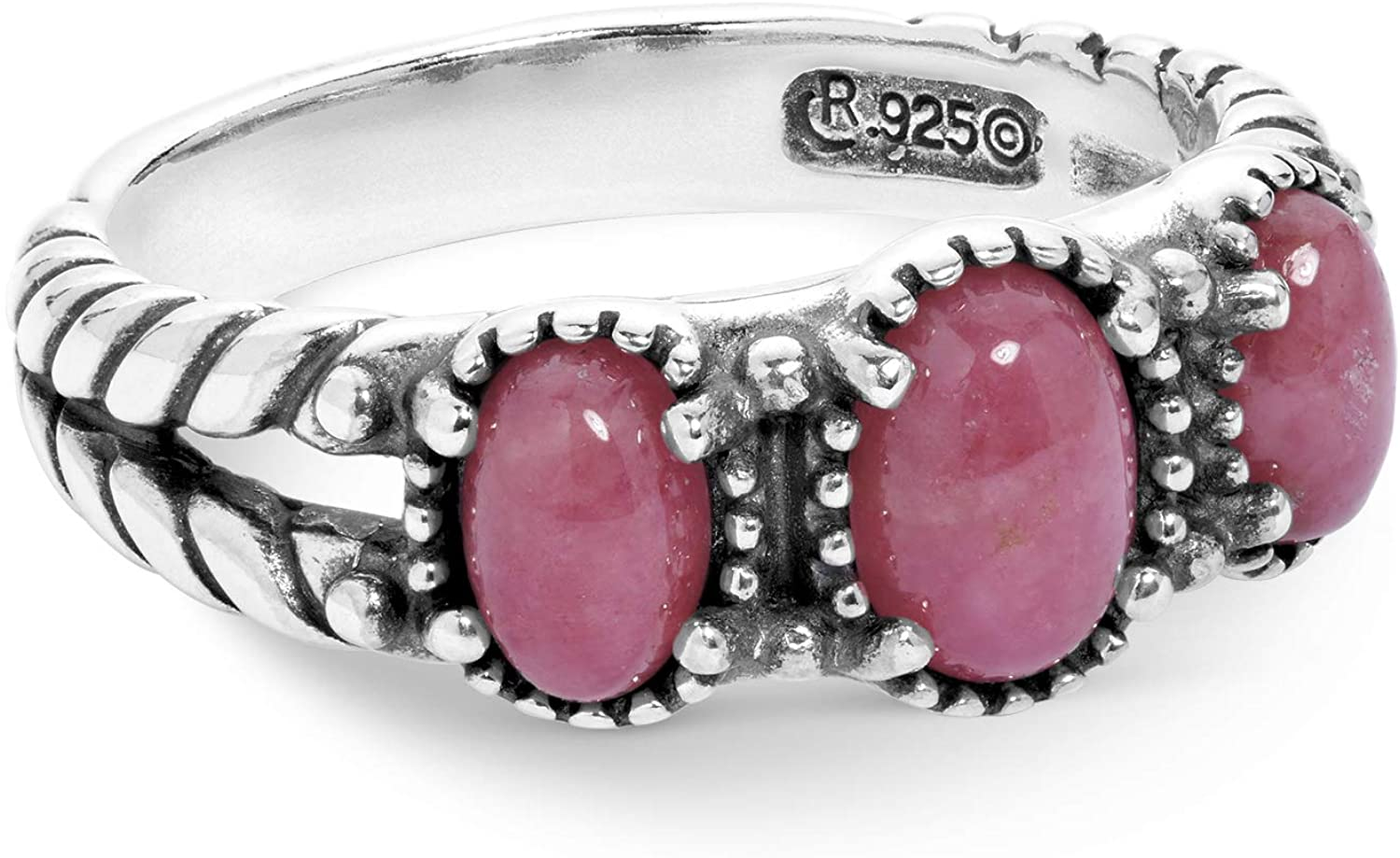 American West Sterling Silver Multi Gemstone Choice of 8 Different Colors 3-Stone Friendship Ring Size 5 to 10