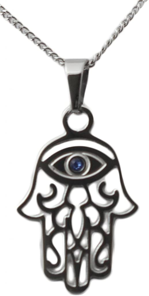 Hamsa Pendant With Evil Eye Judaic Necklace Kabbalah Jewelry