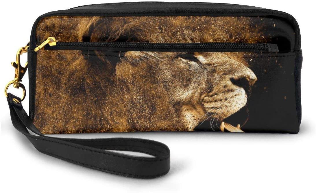 FeiHuang Leather Student Pencil Case Art Gold Dust Lion Pen Cosmetic Bag for Girls Makeup Pouch