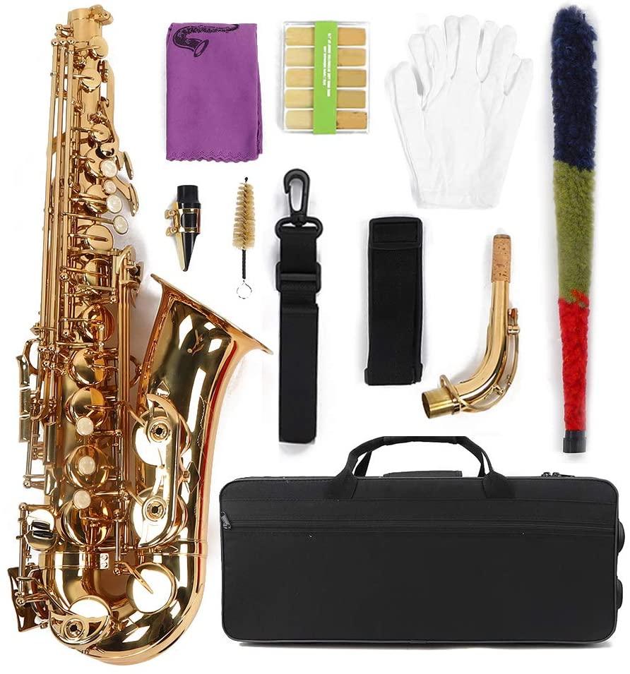 Cocoarm 802 Keys Saxophone, Alto Sax Gold Sax Natural, Gold Lacquer E Flat Alto 802 Key Natural White Shell Button Saxophone Musical Instrument