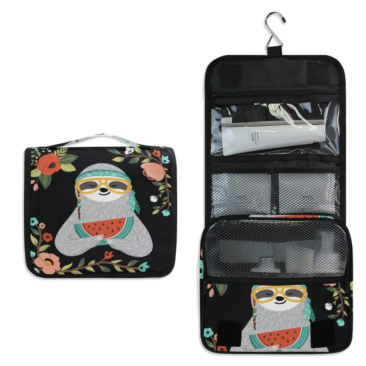 JOYPRINT Hanging Toiletry Bag Flower Sloth Animal Watermelon, Makeup Bag Cosmetic Bag Bathroom Travel Organizer Large for Women Girls