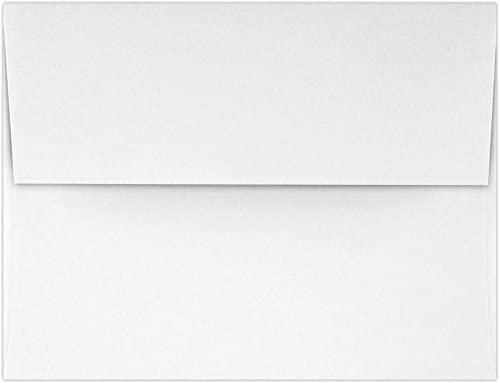 LUXPaper A2 Invitation Envelopes in 70 lb. Classic Crest Avon Brilliant White for 4 1/4 x 5 1/2 Cards, Square Flap Envelopes for Invitations w/Glue, 50 Pack, Envelope Size 4 3/8 x 5 3/4 (White)