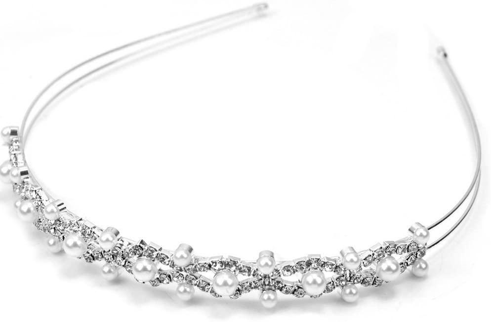 Pixnor Wedding Party Bridal Bridesmaid Flower Girl Double Faux Pearl Crown Headband Tiara
