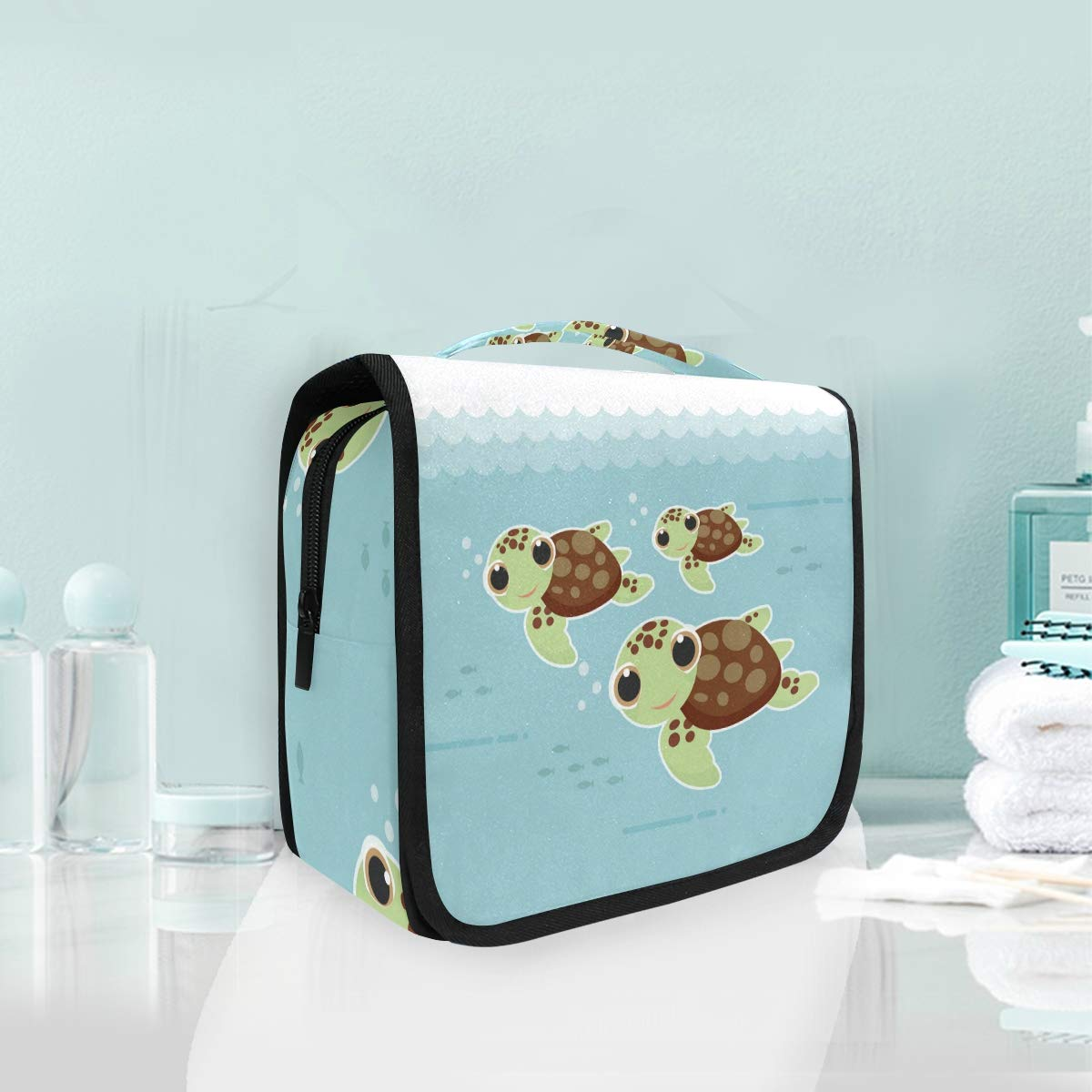Hanging Toiletry Bag Cartoon Cute Baby Sea Turtles Portable Cosmetic Makeup Travel Organizer for Men & Women with Sturdy Hook