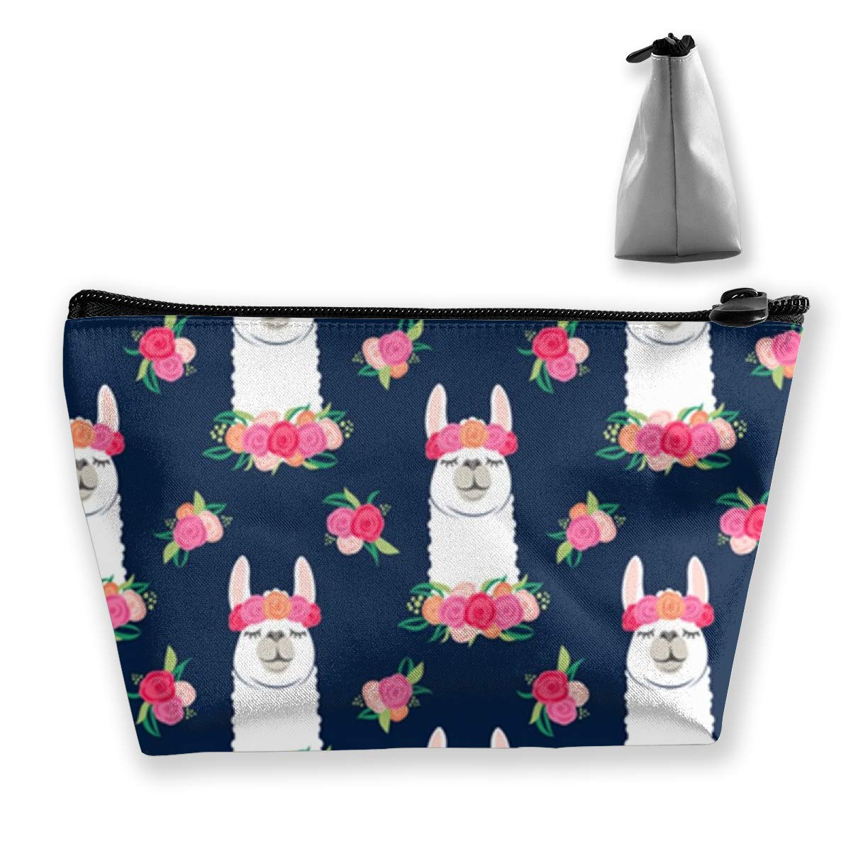 Portable Floral Llama Pattern Trapezoidal Storage Pouch Cosmetic Bag Makeup Bag Travel Pouches Toiletry Bag Cases With Zipper For Women And Girls
