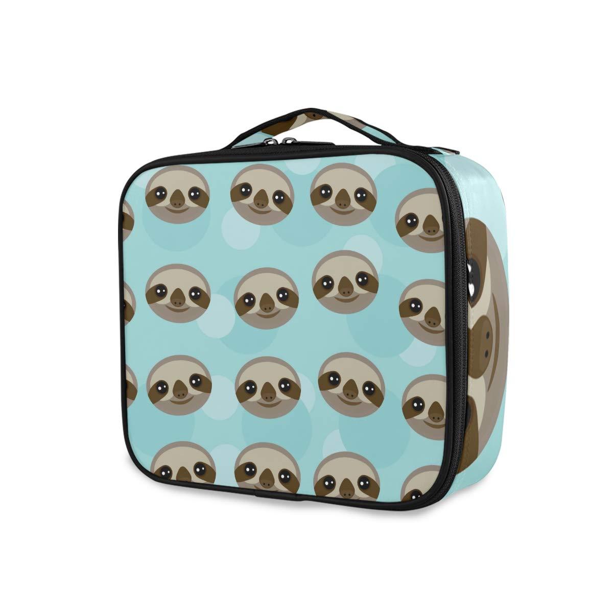 ALAZA Travel Makeup Case, Three-Toed Sloth Muzzle Professional Cosmetic Makeup Bag Organizer Makeup Boxes