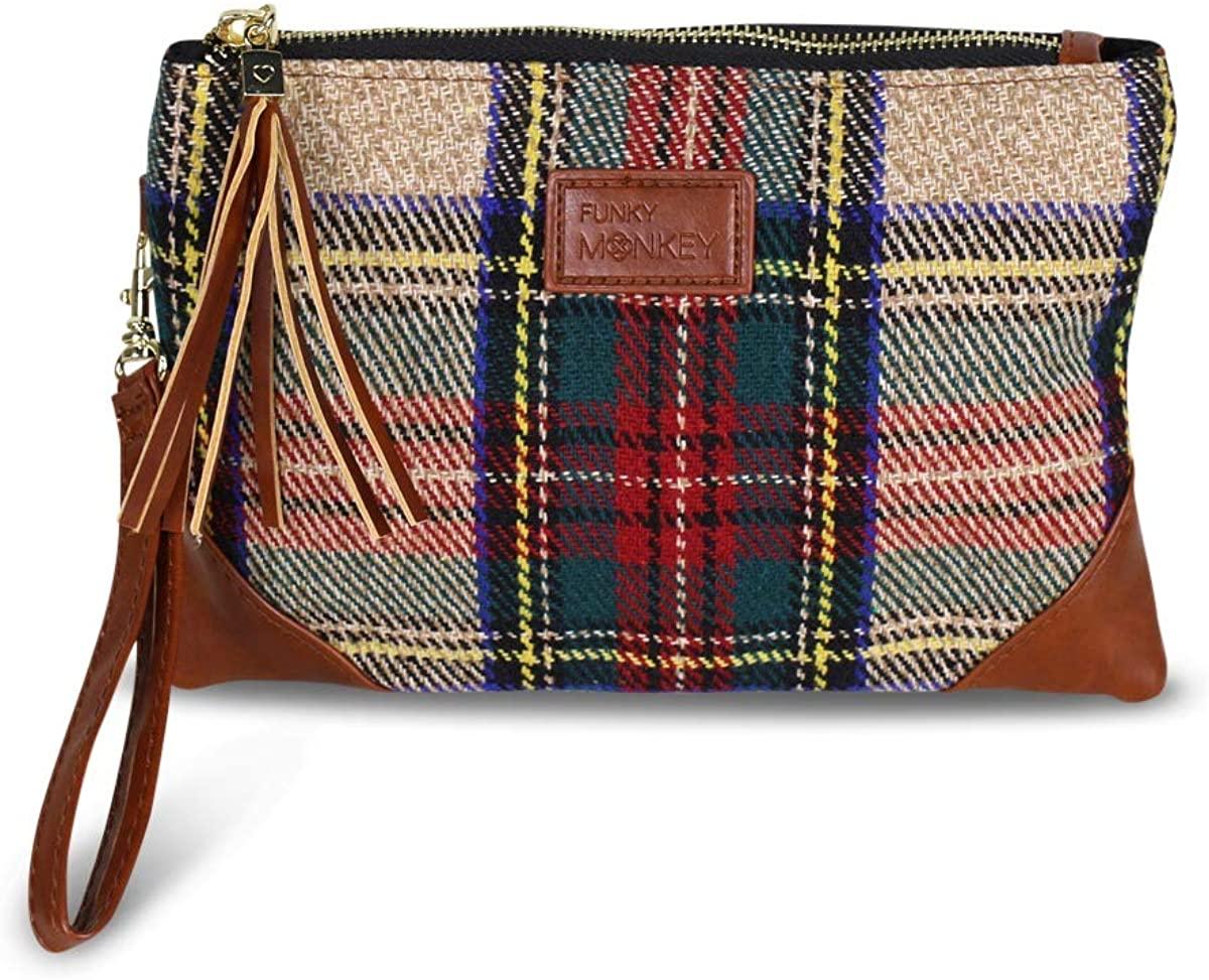 Corner Detail Vegan Tartan Wristlet Wallet Clutch Bag - Phone Purse Handbag - Red, Green, Tan Plaid - Funky Monkey Fashion (Red, Green, Beige Plaid)