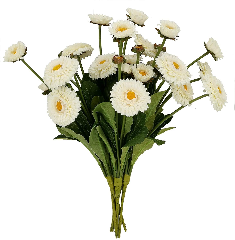 Artficial Daisies Flowers, Silk Daisies Flowers Artificial Bellis Perennis Flowers (White) 6 PCS