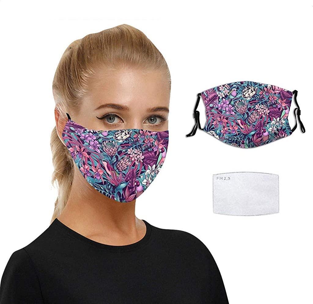 1PCS Bandanas Adults Reusable Breathable Fashion Washable Adjustable Funny Floral Printed Cloth Face_Mask Filter