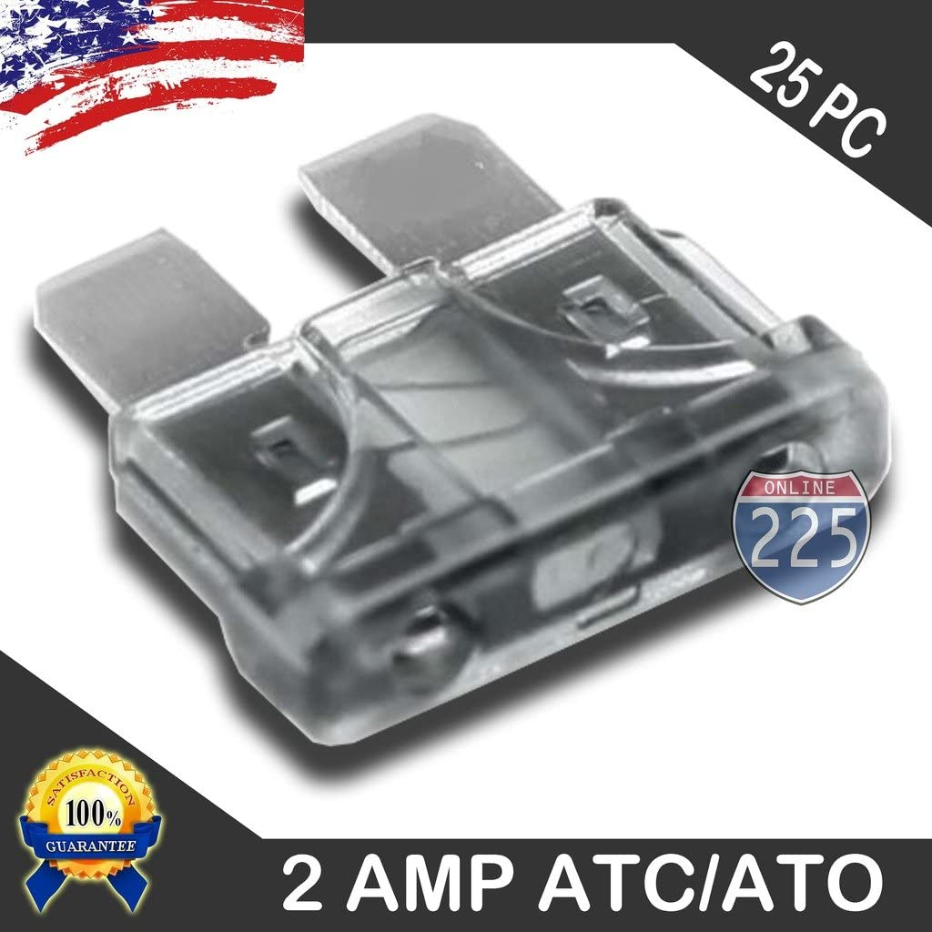 25 Pack 2 AMP ATC/ATO Standard Regular Fuse Blade 2A Car Truck Boat Marine RV