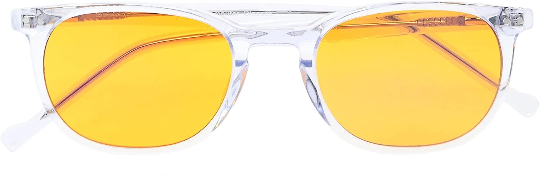 Anti Blue Light,UV Protection,Reduce Eyestrain,Blocking 94% Blue Light Computer Reading Glasses for Small Face(Transparent,Orange Tinted Lens) +1.75