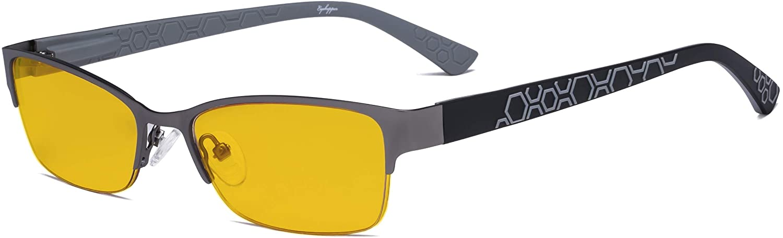 Eyekepper Blue Light Blocking Computer Glasses with Amber Filter Lens - Anti Radiation Anti Glare UV Rays Reduces Eyestrain Half-Rim Eyeglasses Women Gunmetal/Grey