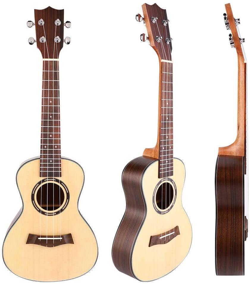 Fafeims 23in Mahogany Spruce Wood Ukulele 4 Strings Practice Guitar Portable Ukulele Sets